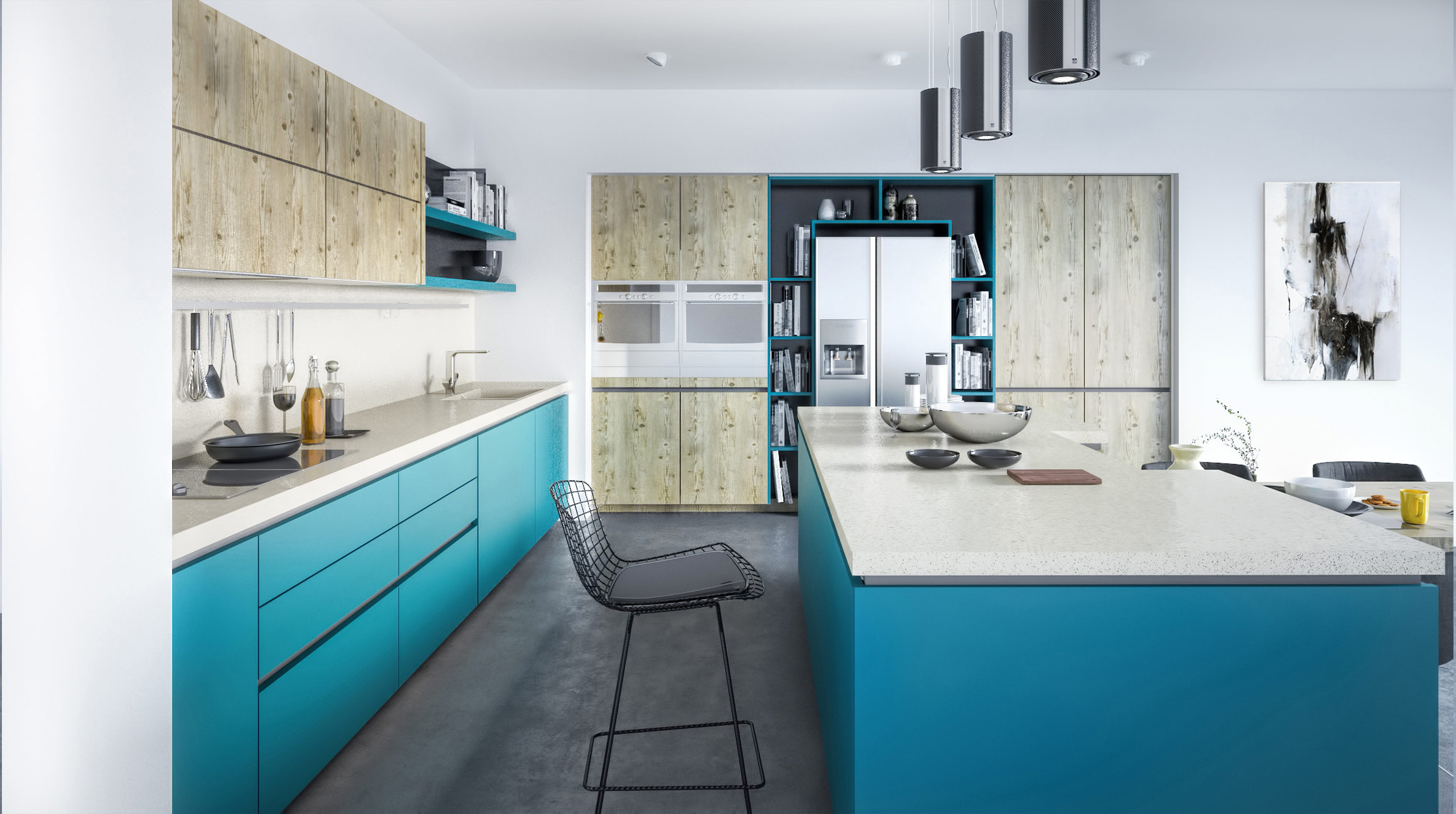 gola blue  handle-less kitchen
