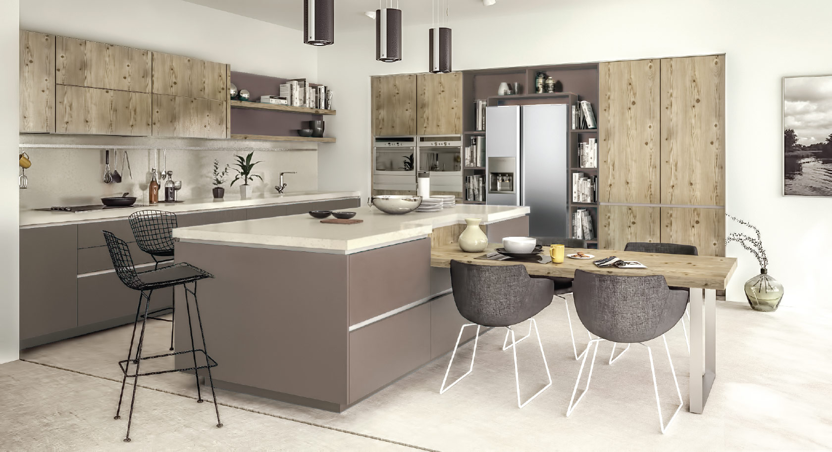 gola brown  handle-less kitchen
