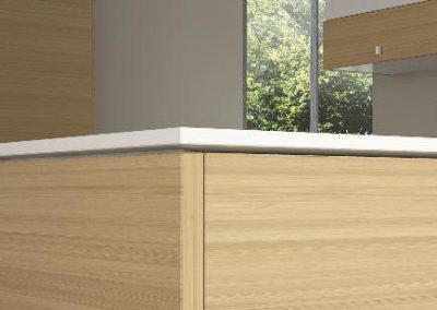 koundouros gloss: linear slim corian worktop punctuates the contrast of light oak wood with high gloss white laquered front