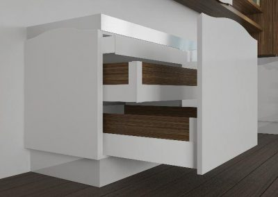 otzias wood: inside the waved fronts there is a space for large accessorized drawers to house the most varied items